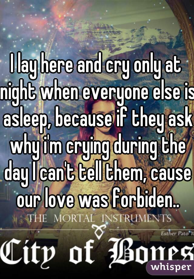 I lay here and cry only at night when everyone else is asleep, because if they ask why i'm crying during the day I can't tell them, cause our love was forbiden..