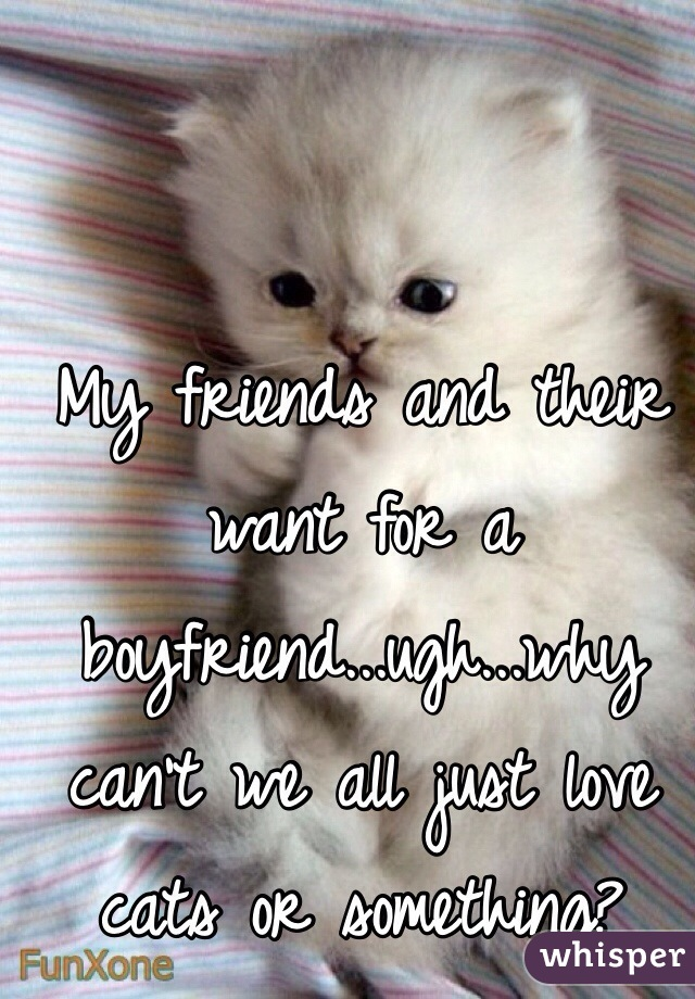 My friends and their want for a boyfriend...ugh...why can't we all just love cats or something?