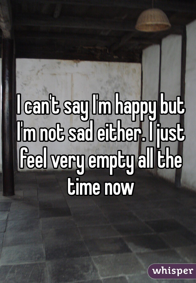 I can't say I'm happy but I'm not sad either. I just feel very empty all the time now