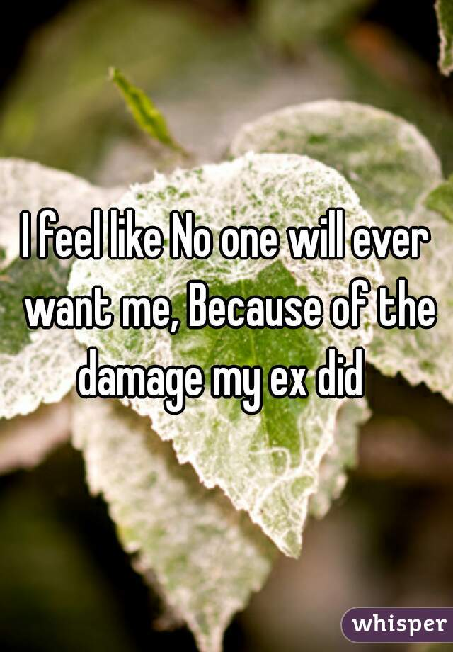 I feel like No one will ever want me, Because of the damage my ex did
