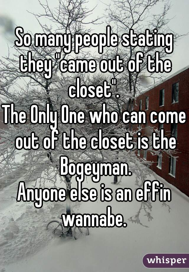 """So many people stating they """"came out of the closet"""".  The Only One who can come out of the closet is the Bogeyman. Anyone else is an effin wannabe."""