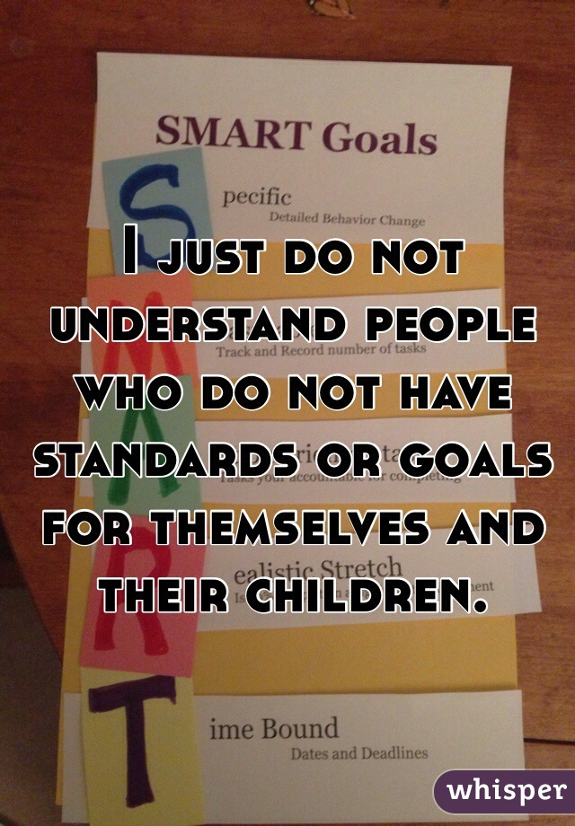 I just do not understand people who do not have standards or goals for themselves and their children.