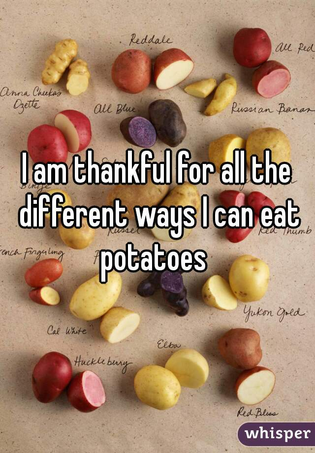 I am thankful for all the different ways I can eat potatoes