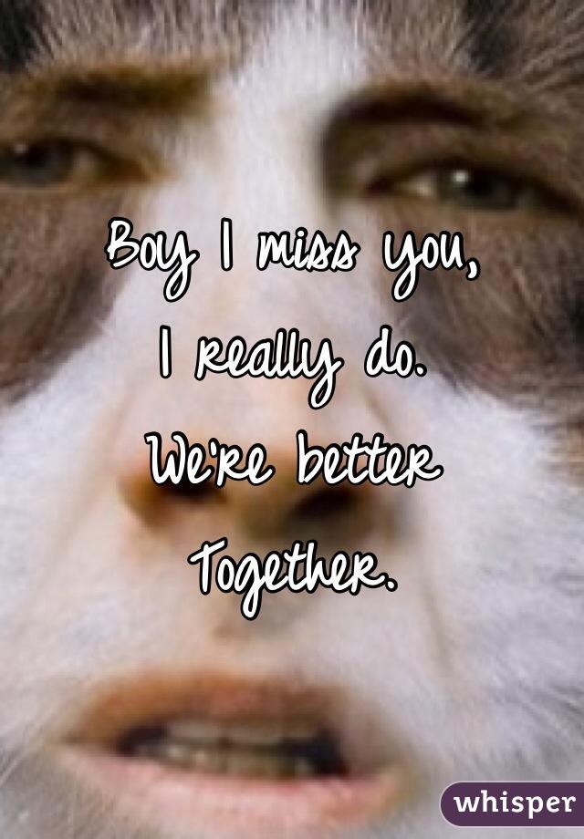 Boy I miss you, I really do. We're better  Together.