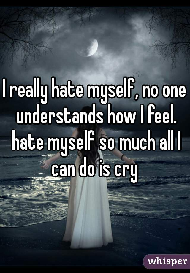 I really hate myself, no one understands how I feel. hate myself so much all I can do is cry