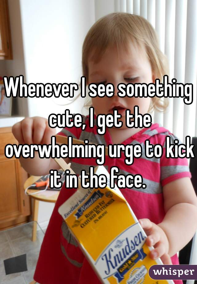 Whenever I see something cute, I get the overwhelming urge to kick it in the face.