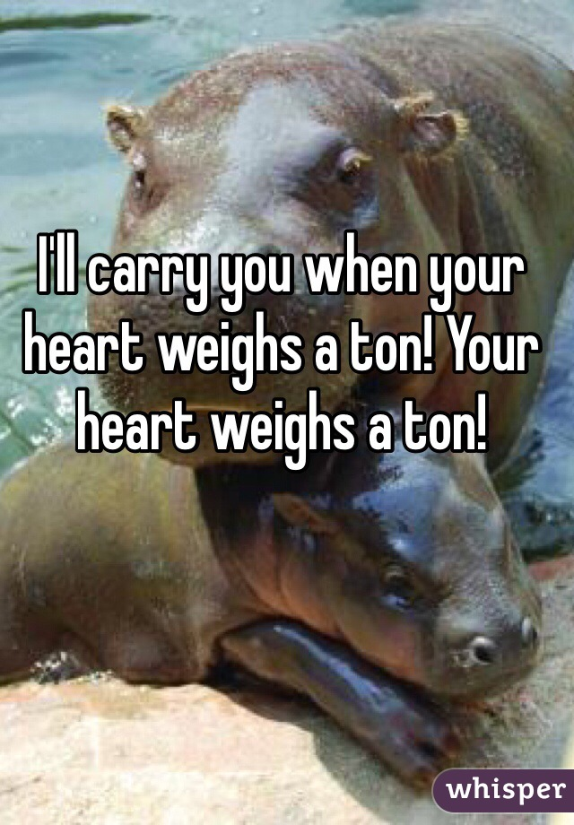 I'll carry you when your heart weighs a ton! Your heart weighs a ton!