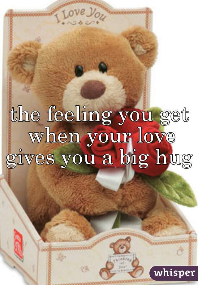 the feeling you get when your love gives you a big hug