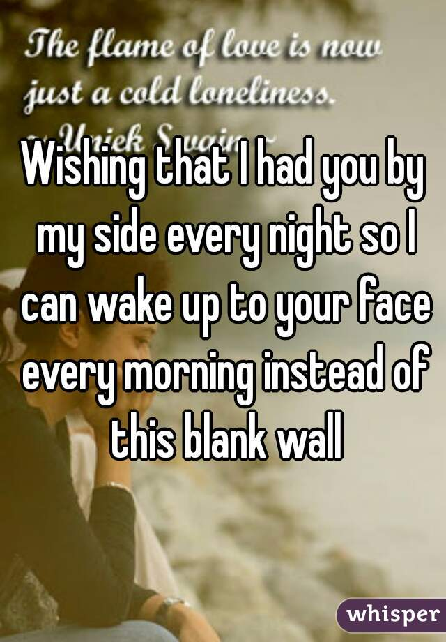 Wishing that I had you by my side every night so I can wake up to your face every morning instead of this blank wall
