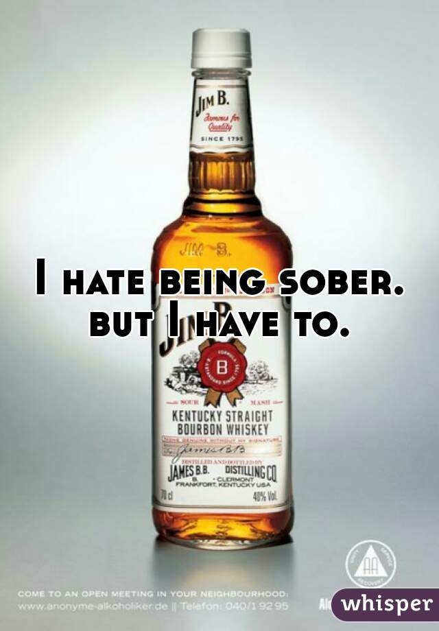 I hate being sober. but I have to.