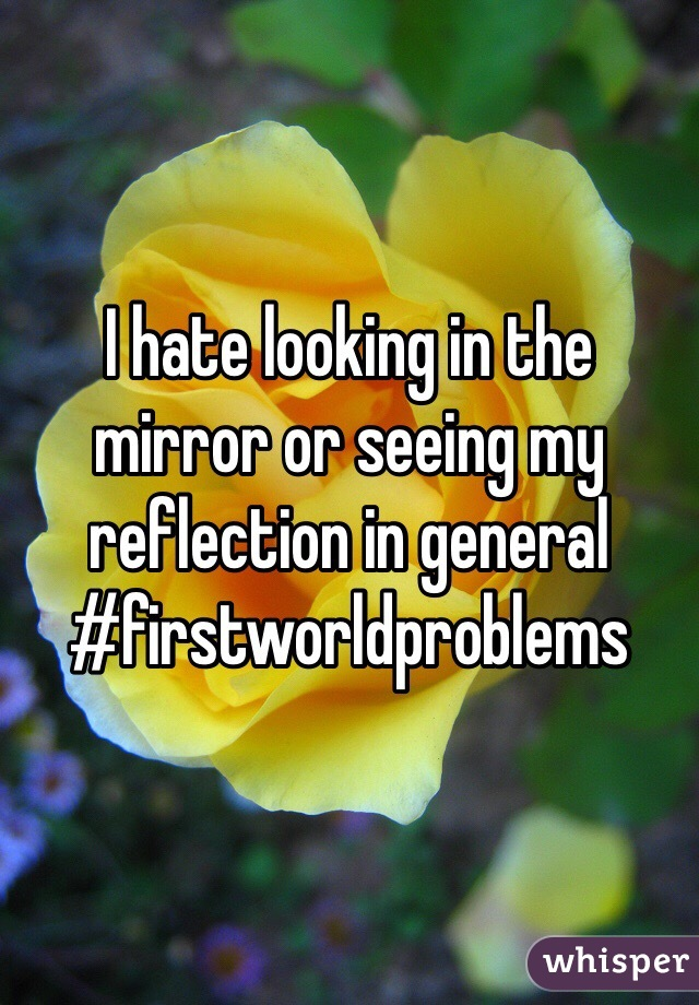 I hate looking in the mirror or seeing my reflection in general  #firstworldproblems