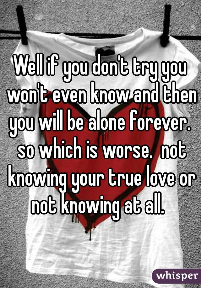 Well if you don't try you won't even know and then you will be alone forever.  so which is worse.  not knowing your true love or not knowing at all.
