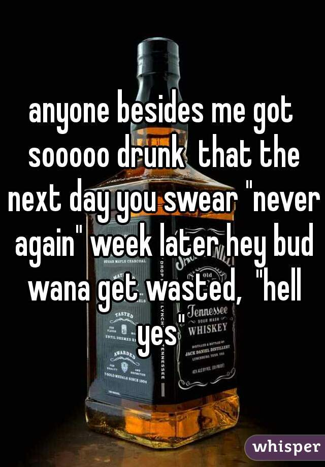 """anyone besides me got sooooo drunk  that the next day you swear """"never again"""" week later hey bud wana get wasted,  """"hell yes"""""""