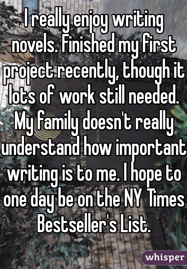 I really enjoy writing novels. Finished my first project recently, though it lots of work still needed. My family doesn't really understand how important writing is to me. I hope to one day be on the NY Times Bestseller's List.