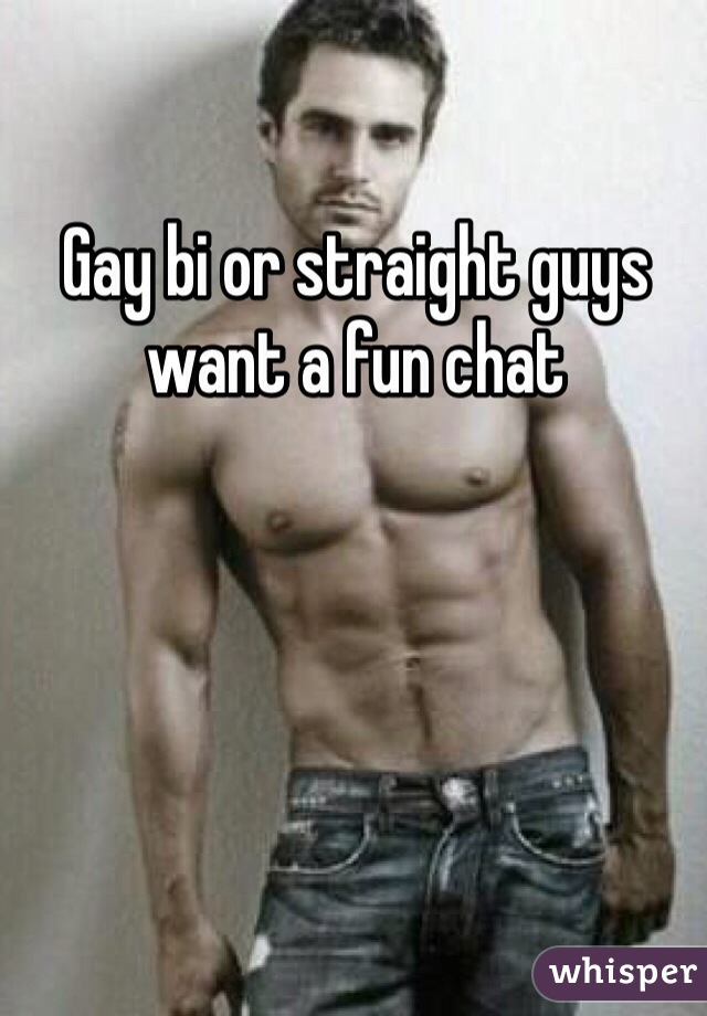 Gay bi or straight guys want a fun chat