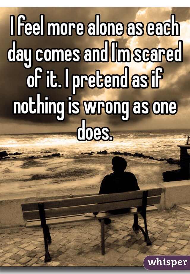 I feel more alone as each day comes and I'm scared of it. I pretend as if nothing is wrong as one does.