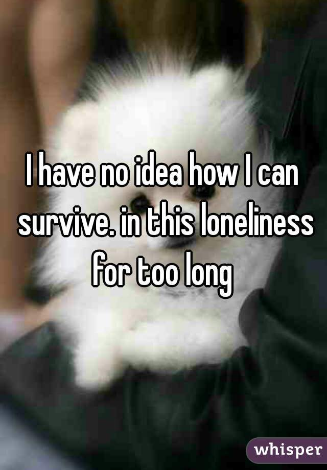 I have no idea how I can survive. in this loneliness for too long