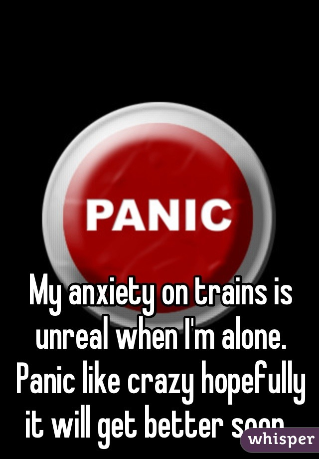 My anxiety on trains is unreal when I'm alone. Panic like crazy hopefully it will get better soon