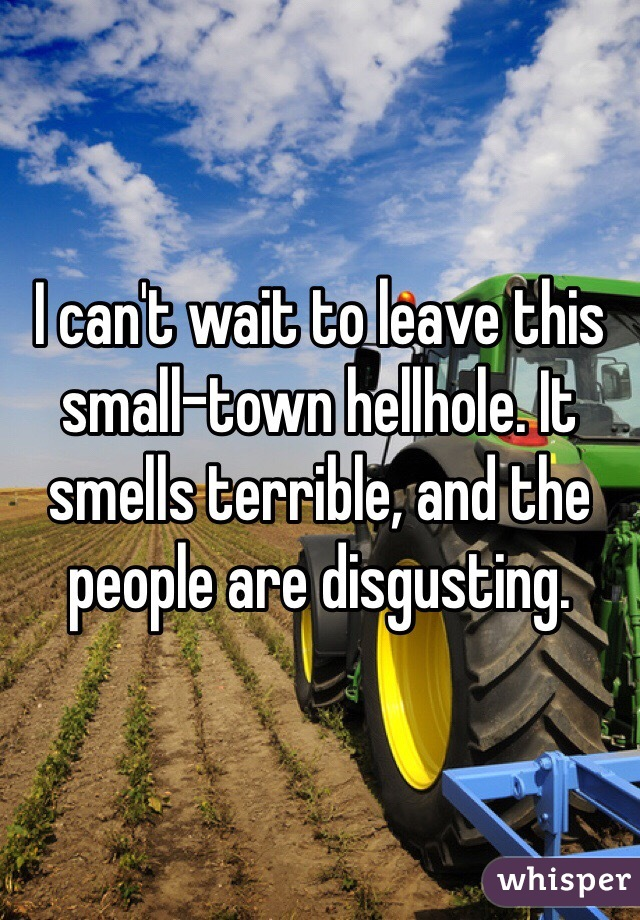 I can't wait to leave this small-town hellhole. It smells terrible, and the people are disgusting.