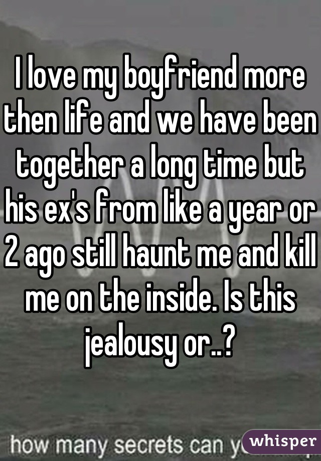 I love my boyfriend more then life and we have been together a long time but his ex's from like a year or 2 ago still haunt me and kill me on the inside. Is this jealousy or..?