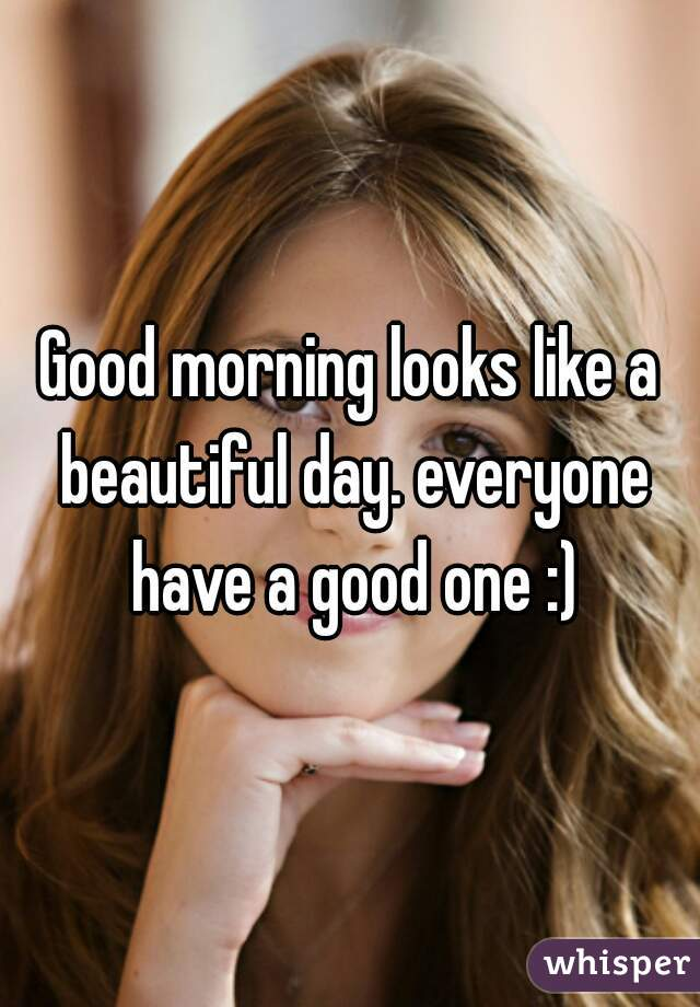 Good morning looks like a beautiful day. everyone have a good one :)