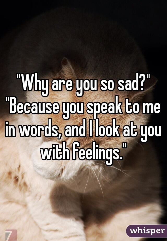 """Why are you so sad?"" ""Because you speak to me in words, and I look at you with feelings."""