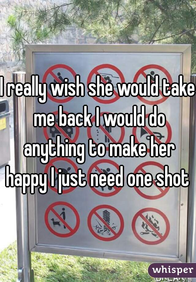 I really wish she would take me back I would do anything to make her happy I just need one shot