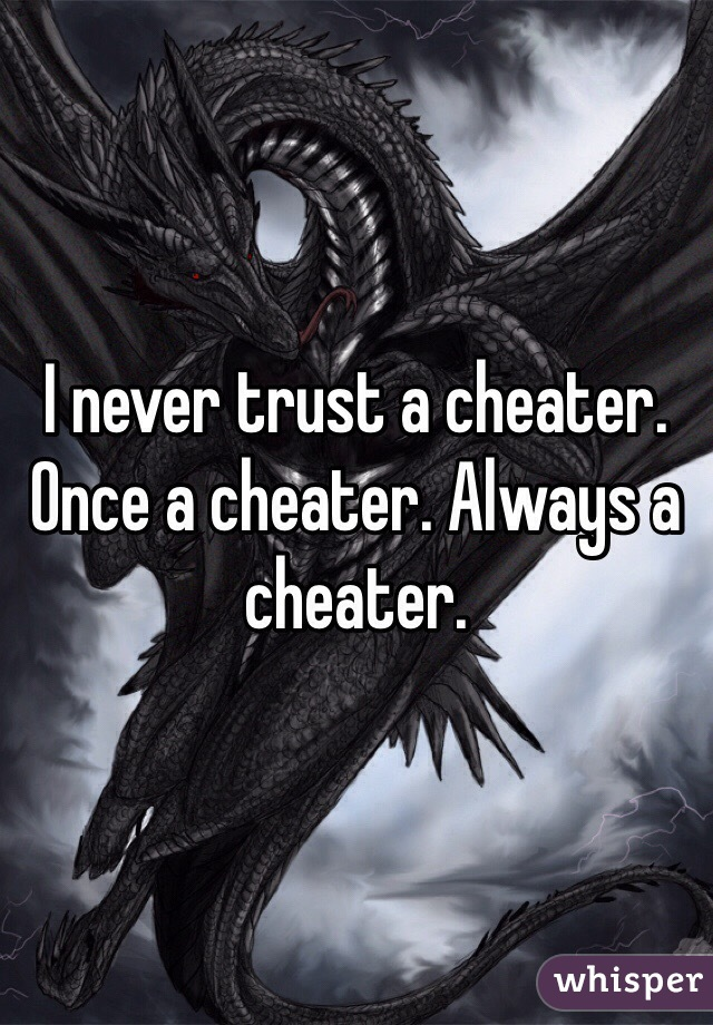 I never trust a cheater. Once a cheater. Always a cheater.