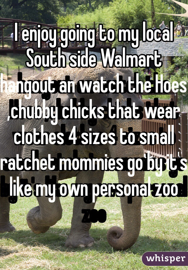 I enjoy going to my local South side Walmart hangout an watch the Hoes ,chubby chicks that wear clothes 4 sizes to small ratchet mommies go by it's like my own personal zoo