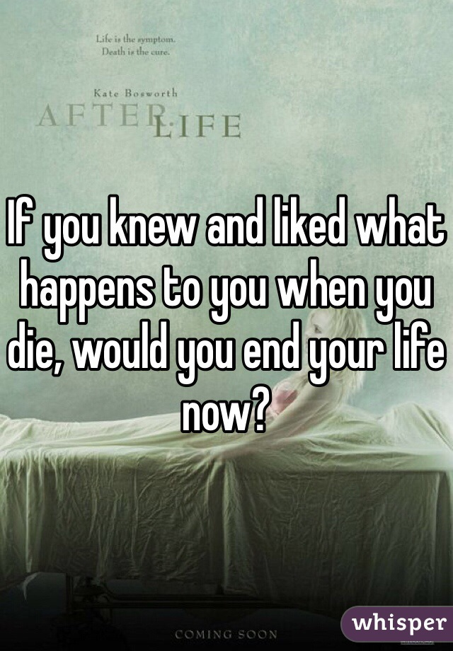 If you knew and liked what happens to you when you die, would you end your life now?
