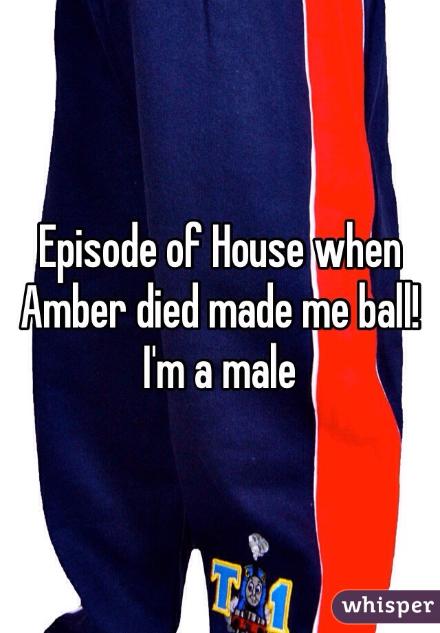 Episode of House when Amber died made me ball!  I'm a male