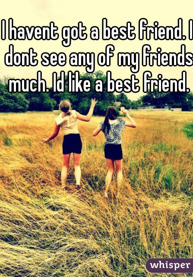 I havent got a best friend. I dont see any of my friends much. Id like a best friend.