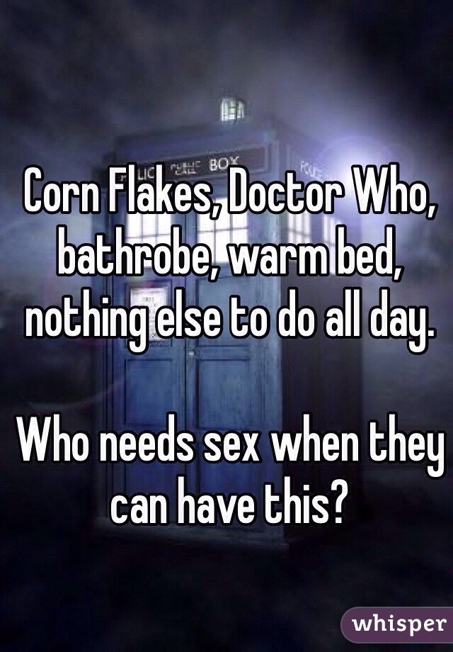 Corn Flakes, Doctor Who, bathrobe, warm bed, nothing else to do all day.   Who needs sex when they can have this?