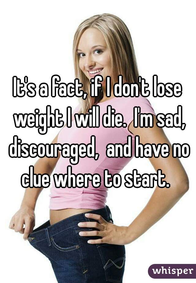 It's a fact, if I don't lose weight I will die.  I'm sad, discouraged,  and have no clue where to start.