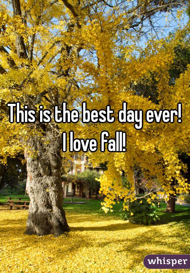 This is the best day ever!   I love fall!