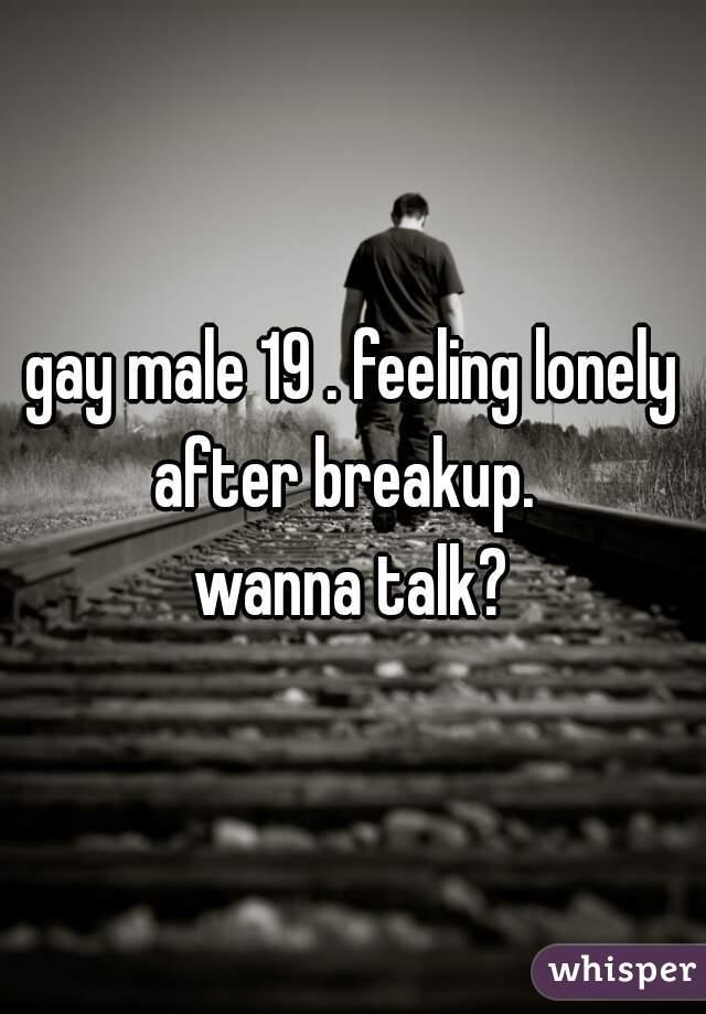 gay male 19 . feeling lonely after breakup.    wanna talk?