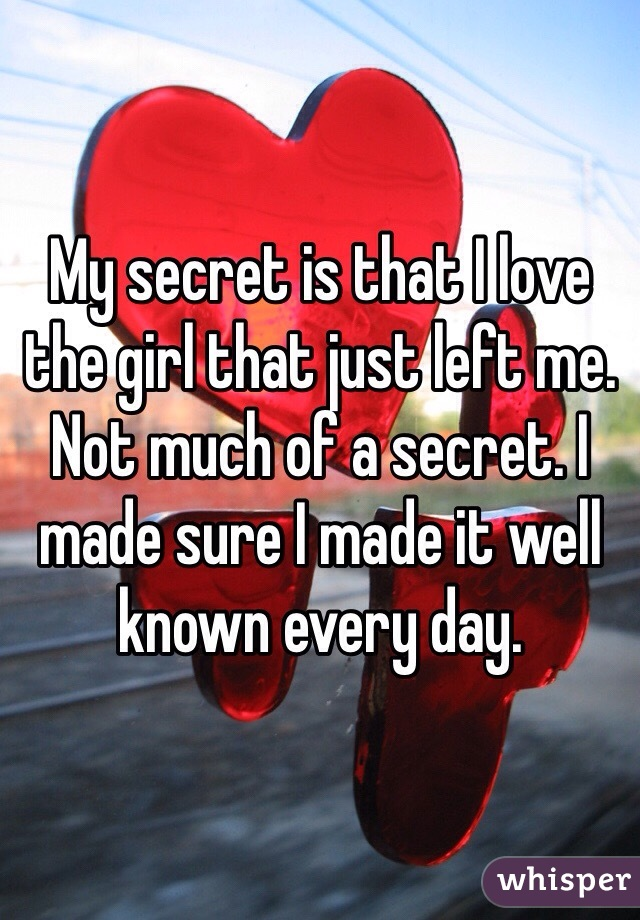My secret is that I love the girl that just left me. Not much of a secret. I made sure I made it well known every day.