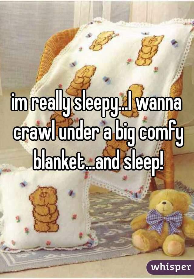 im really sleepy...I wanna crawl under a big comfy blanket...and sleep!