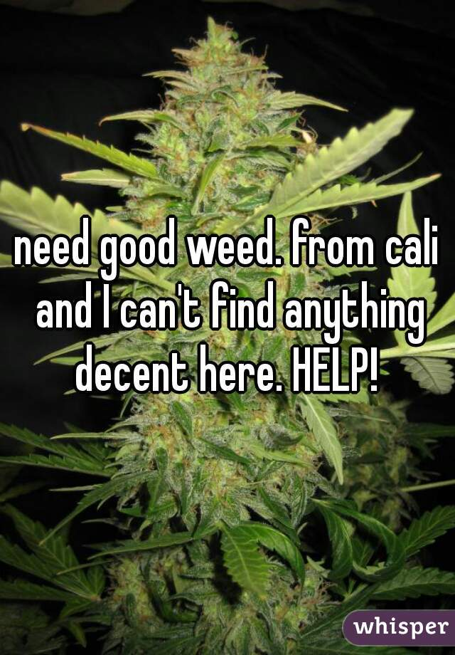 need good weed. from cali and I can't find anything decent here. HELP!