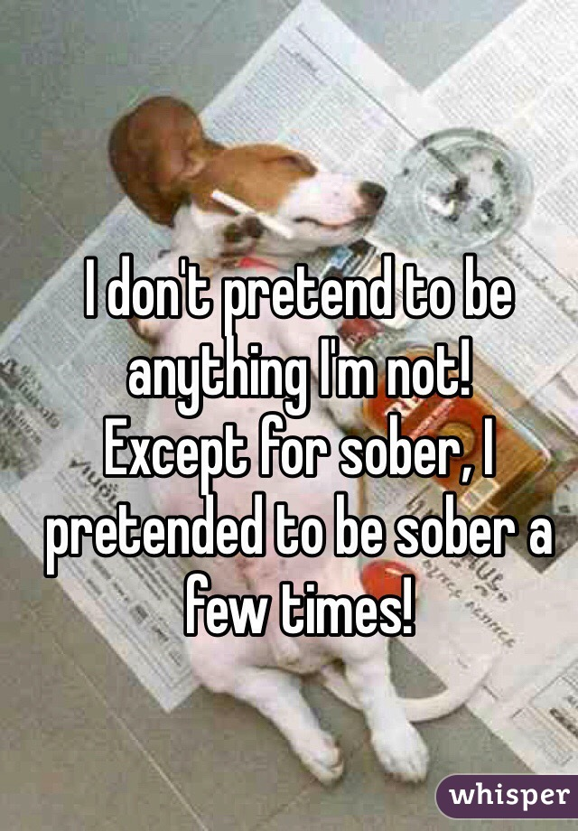 I don't pretend to be anything I'm not! Except for sober, I pretended to be sober a few times!