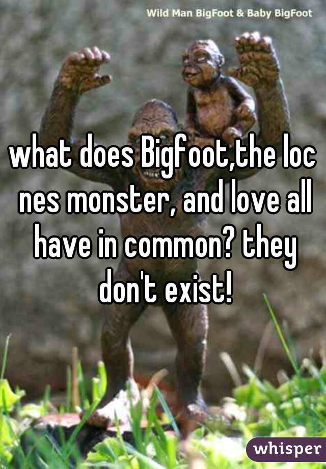 what does Bigfoot,the loc nes monster, and love all have in common? they don't exist!