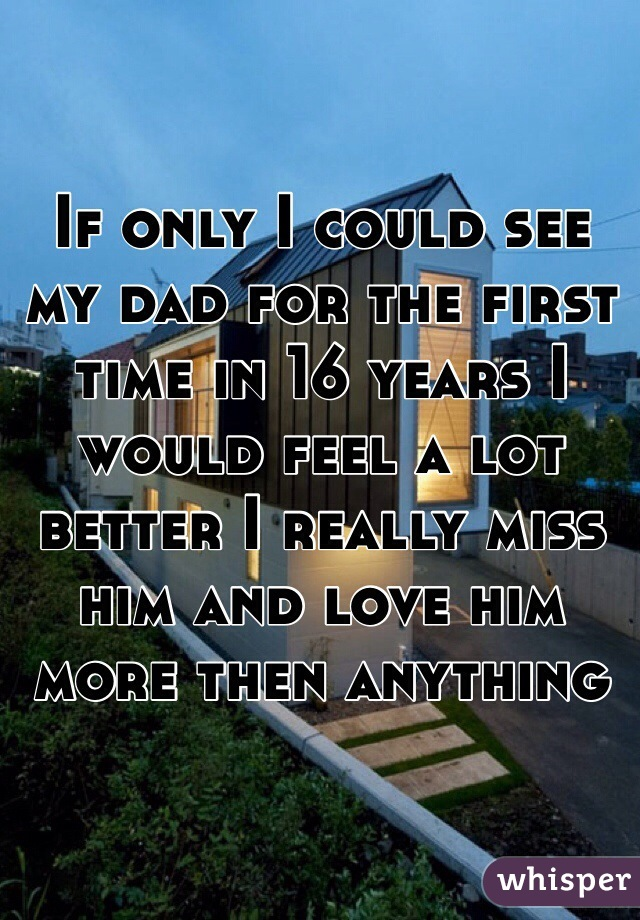If only I could see my dad for the first time in 16 years I would feel a lot better I really miss him and love him more then anything