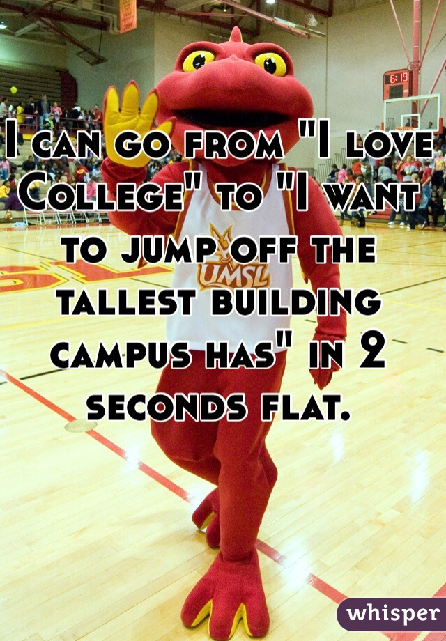 """I can go from """"I love College"""" to """"I want to jump off the tallest building campus has"""" in 2 seconds flat."""