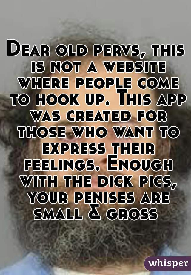 Dear old pervs, this is not a website where people come to hook up. This app was created for those who want to express their feelings. Enough with the dick pics, your penises are small & gross