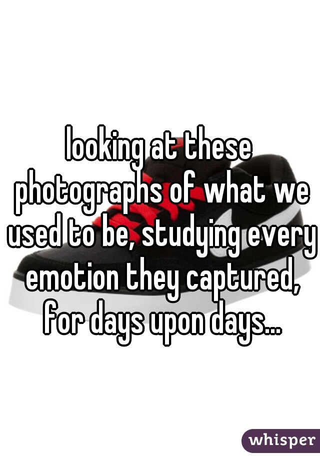 looking at these photographs of what we used to be, studying every emotion they captured, for days upon days...
