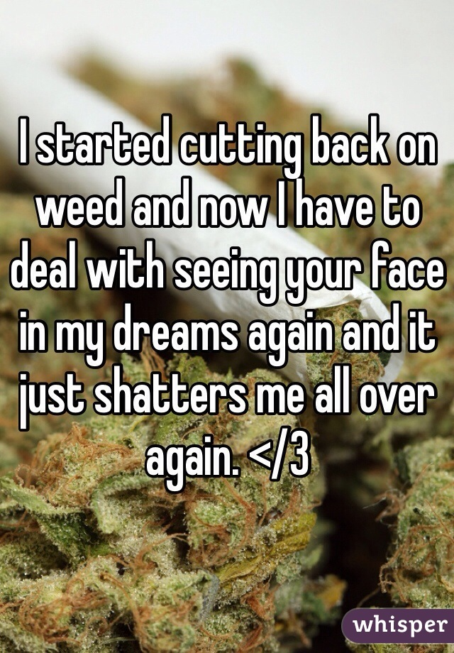 I started cutting back on weed and now I have to deal with seeing your face in my dreams again and it just shatters me all over again. </3