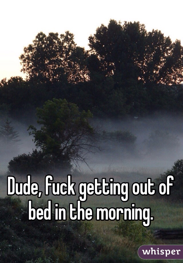 Dude, fuck getting out of bed in the morning.