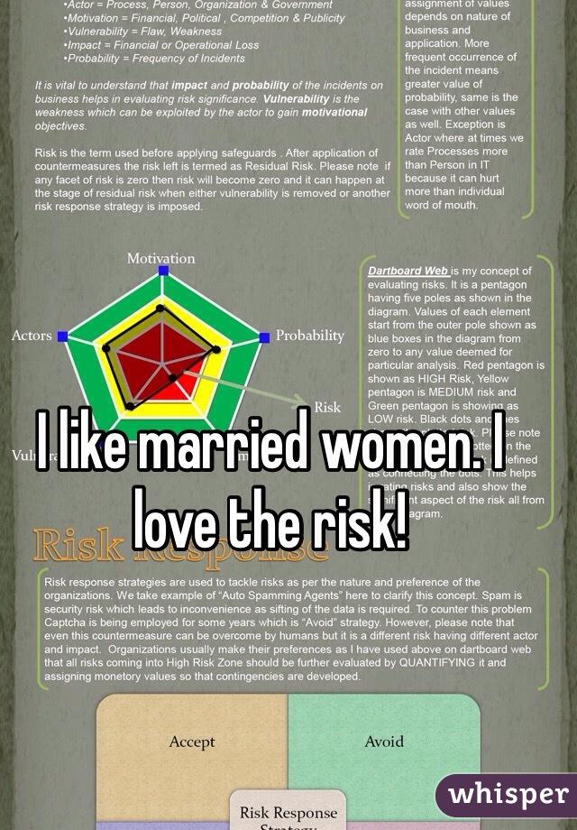 I like married women. I love the risk!