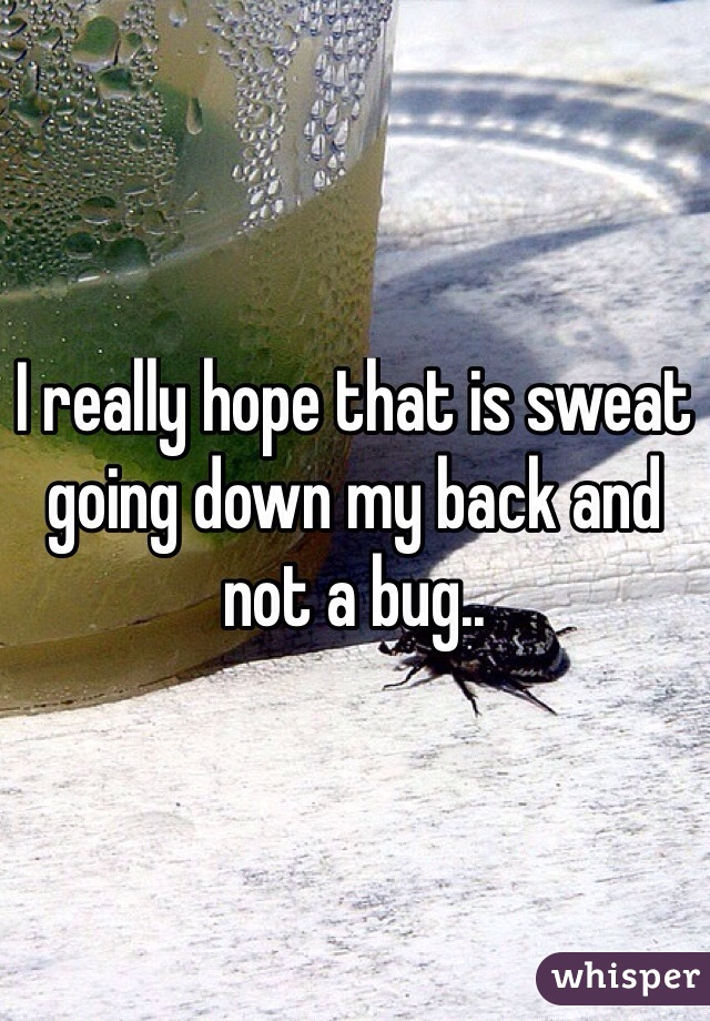 I really hope that is sweat going down my back and not a bug..