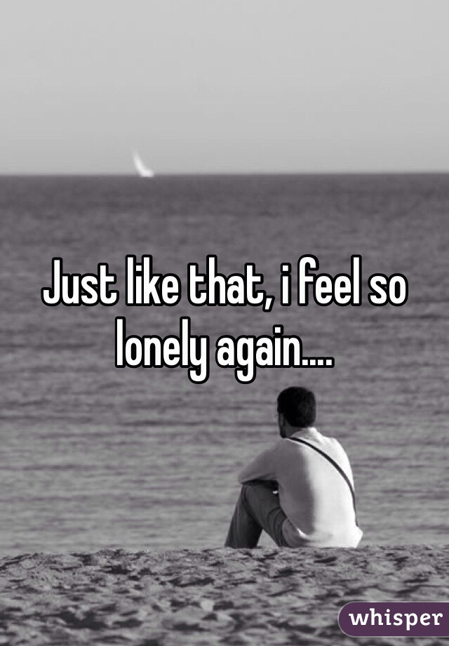 Just like that, i feel so lonely again....